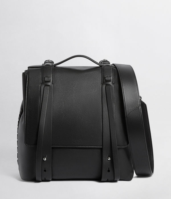 fin leather shoulder backpack