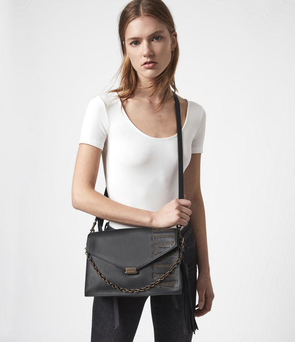 nina stud leather shoulder bag