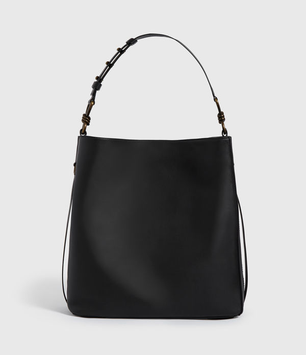 nina stud north south leather tote bag