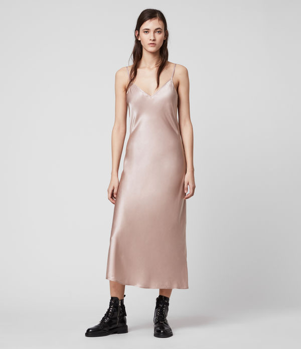 Tierney Silk Blend Satin Slip Dress