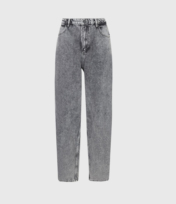 Baya High-Rise Straight Jeans, Snow Wash Grey