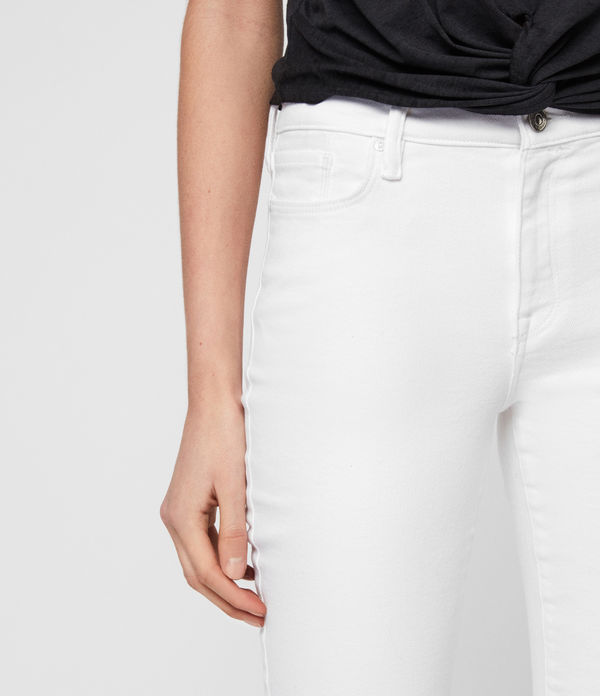 Grace Ankle Fray Skinny Mid-Rise Jeans, White