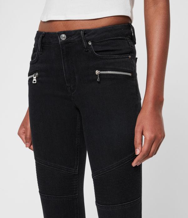 Grace Biker Mid-Rise Cropped Jeans, Black