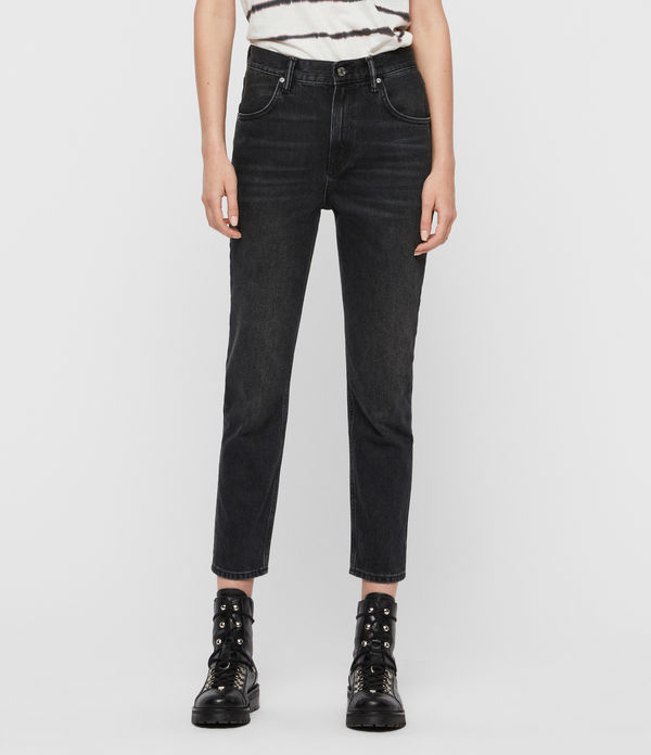 brooke high-rise straight jeans, washed black