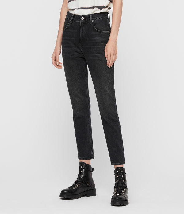 Brooke Hi High-Rise Straight Jeans, Washed Black