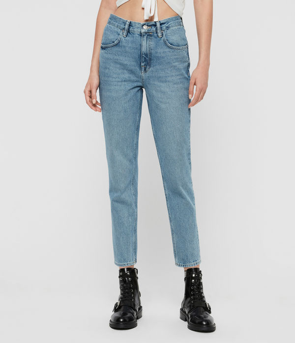 Brooke High-Rise Straight Jeans, Indigo Blue