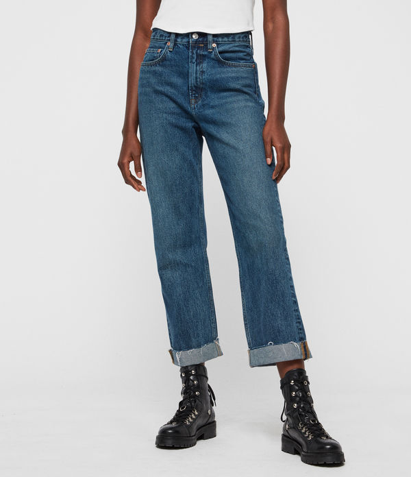 Mari High-Rise Cropped Boyfriend Jeans, Dark Indigo Blue