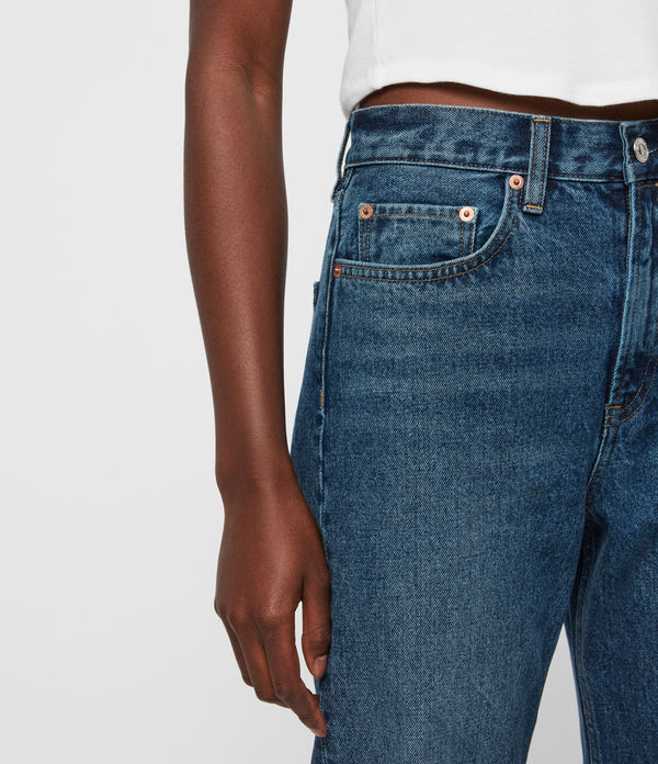 Mari High-Rise Cropped Boyfriend Jeans, Dark Indigo Blue