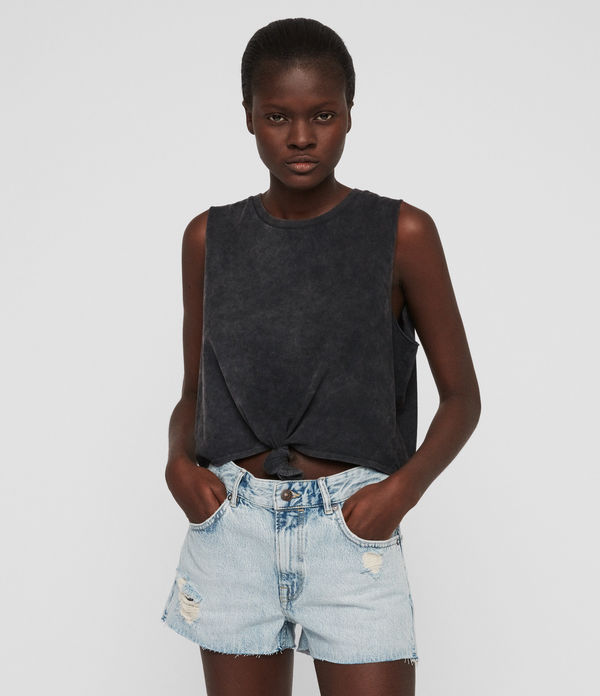 Cleo Denim Low-Rise Boyfriend Shorts