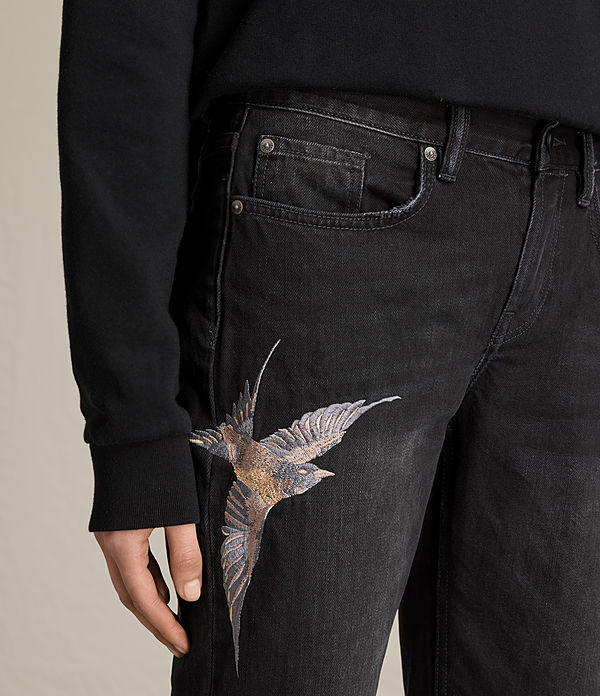 birds cropped embroidered boys jeans