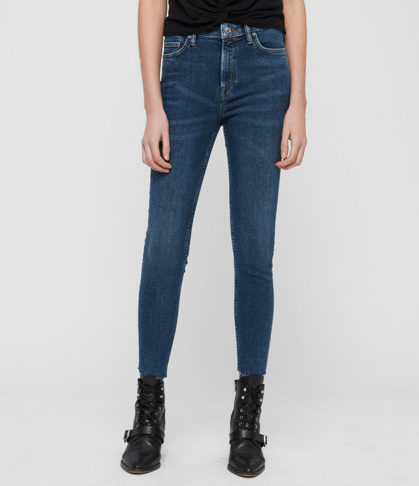 roxanne cropped ankle skinny high-rise jeans, dark indigo blue