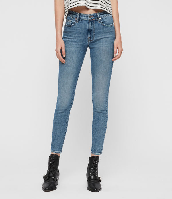 Roxanne Cropped Ankle High-Rise Skinny Jeans, Mid Indigo Blue