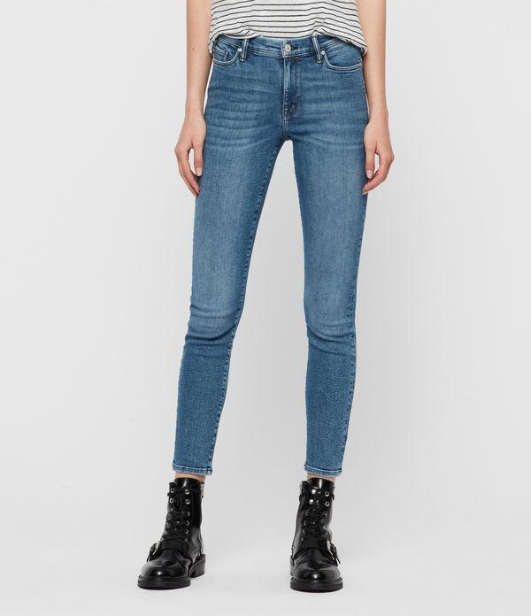 Grace Ankle Mid-Rise Skinny Jeans, Indigo Blue