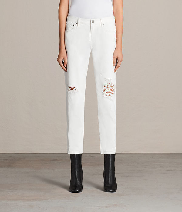 Muse Slim Destroyed Mid-Rise Jeans, Chalk White