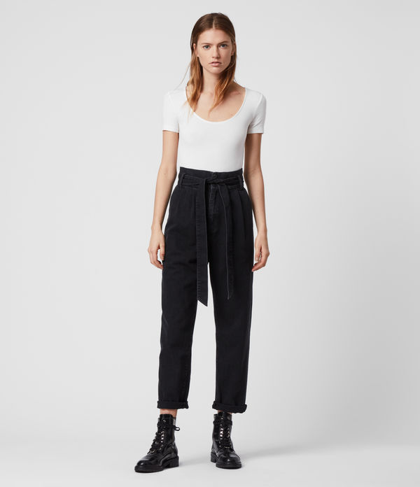 Ralita High-Rise Cropped Jeans, Black