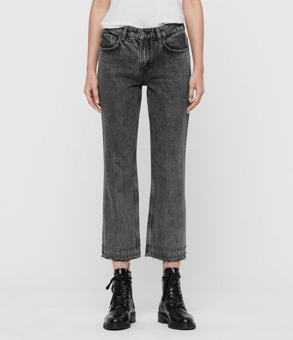 Ava Studded Hem Straight High-Rise Jeans, Washed Black