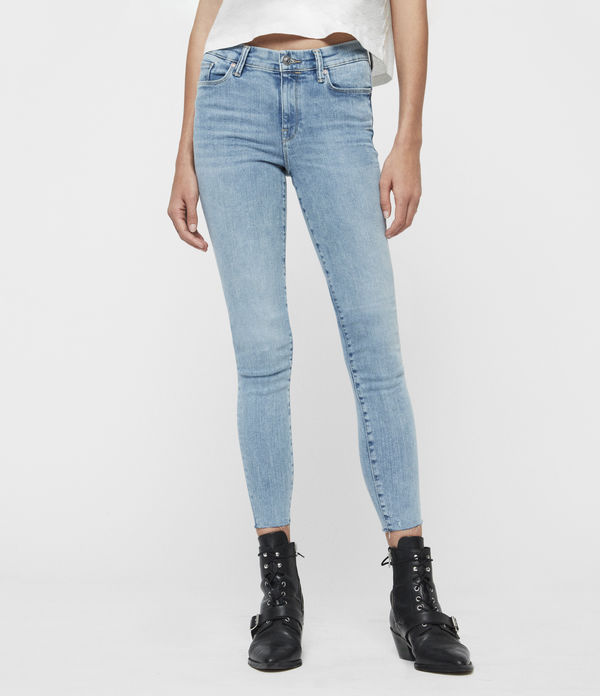 Grace Ankle Fray Mid-Rise Skinny Jeans, Light Indigo Blue