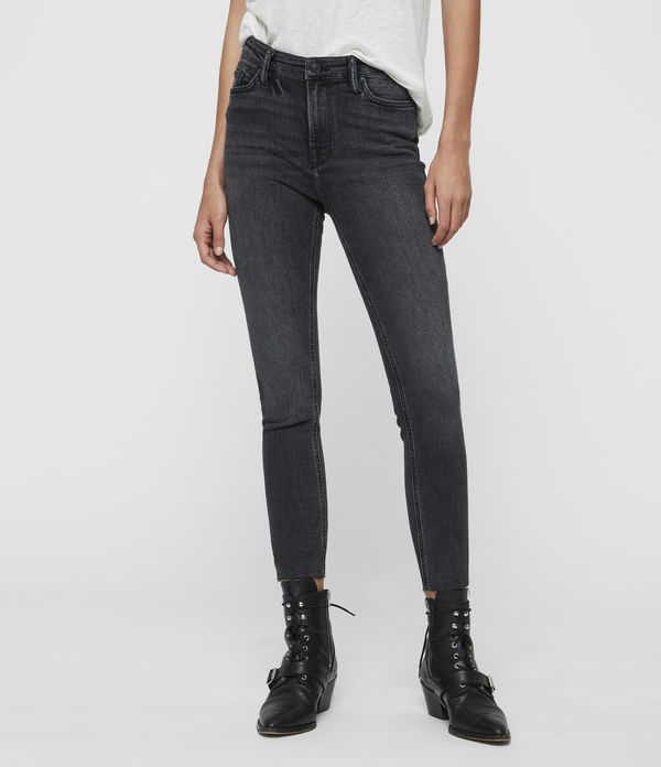 Roxanne Cropped Ankle High-Rise Skinny Jean, Washed Black