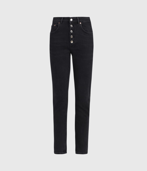Jules High-Rise Slim Jeans, Washed Black