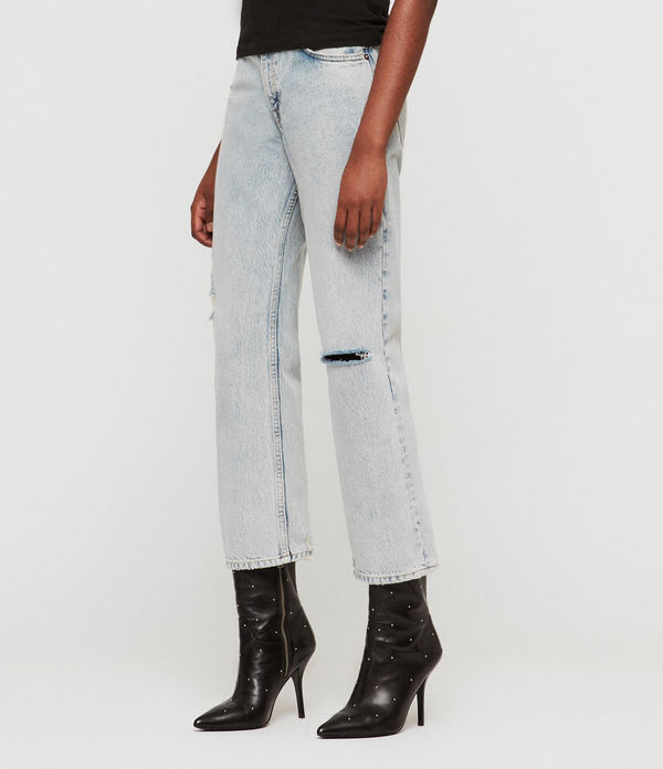 Ava Straight High-Rise Ripped Jeans, Ice Blue