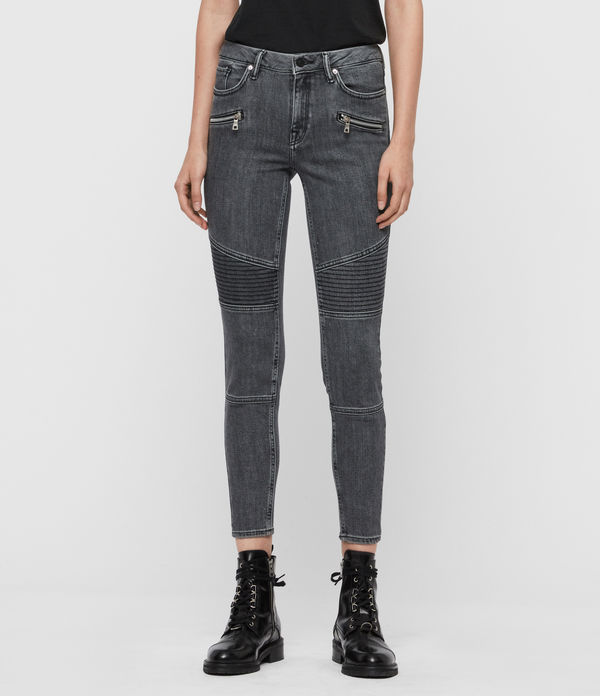 Grace Biker Cropped Mid-Rise Jeans, Washed Grey