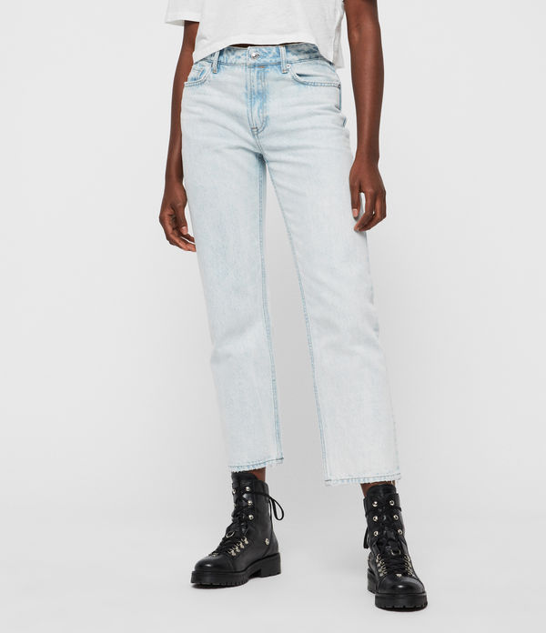ava acid cropped high-rise straight jeans, light indigo blue