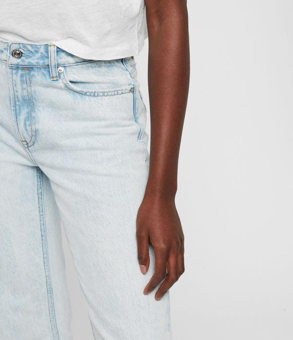 Ava Acid Cropped High-Rise Straight Jeans, Light Indigo Blue