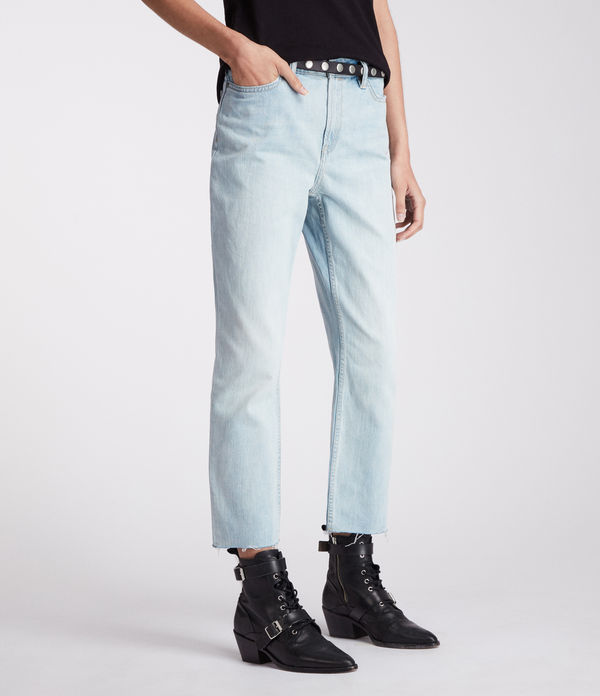 Ella Straight Mid-Rise Jeans, Bleached Indigo Blue