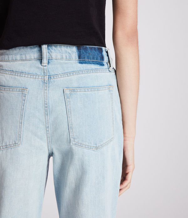 Ella Straight Mid-Rise Jeans, Bleached Indigo Blue