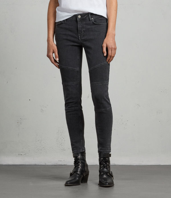 Biker Ankle Skinny Low-Rise Jeans, Washed Black