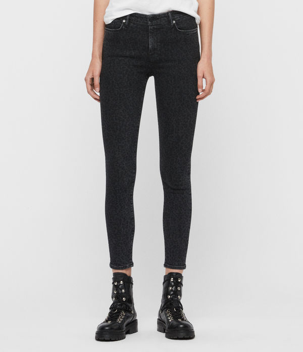 Grace Leopard Cropped Mid-Rise Jeans, Washed Black