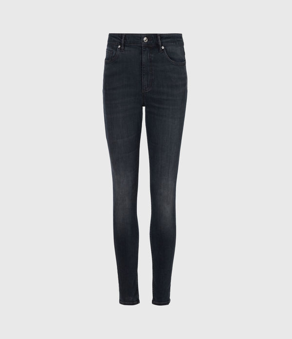 Dax Cropped High-Rise Stetch Skinny Jeans, Blue Grey