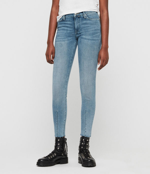 Grace Dart Ankle Mid-Rise Skinny Jeans, Light Indigo Blue