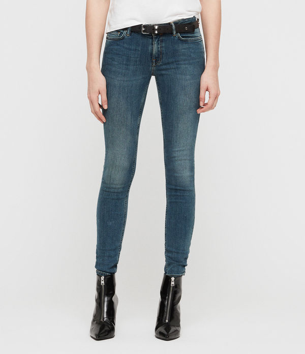 Mast Skinny Low-Rise Jeans, Washed Indigo Blue