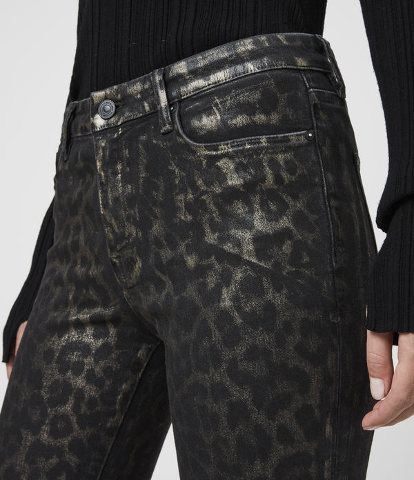 Grace Cropped Mid-Rise Skinny Leopard Jeans, Bronze