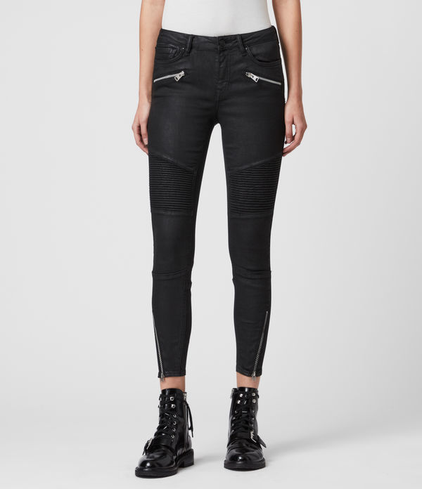grace biker cropped mid-rise skinny jeans, coated black