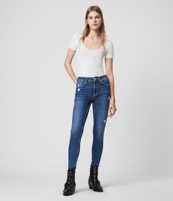 dax high-rise superstretch shaping skinny jeans, mid indigo blue