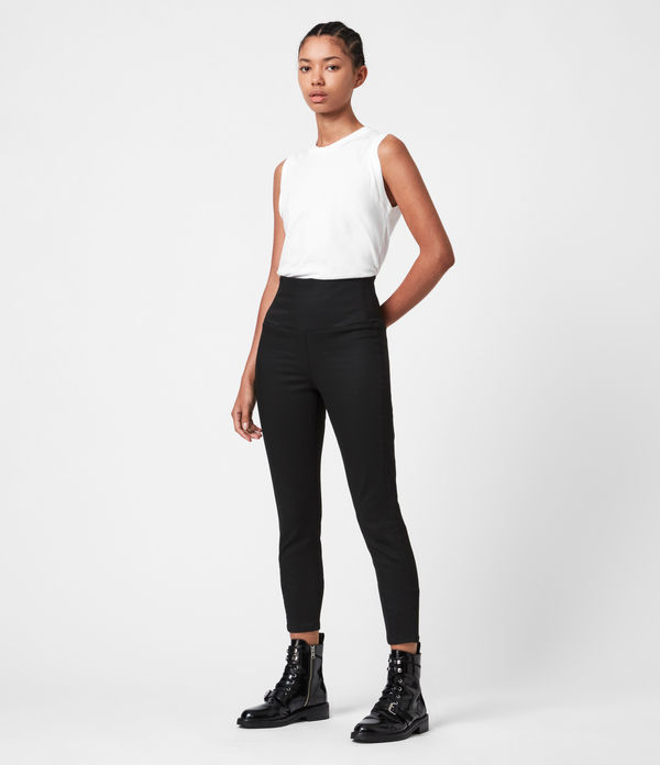cora high-rise zip denim leggings, black