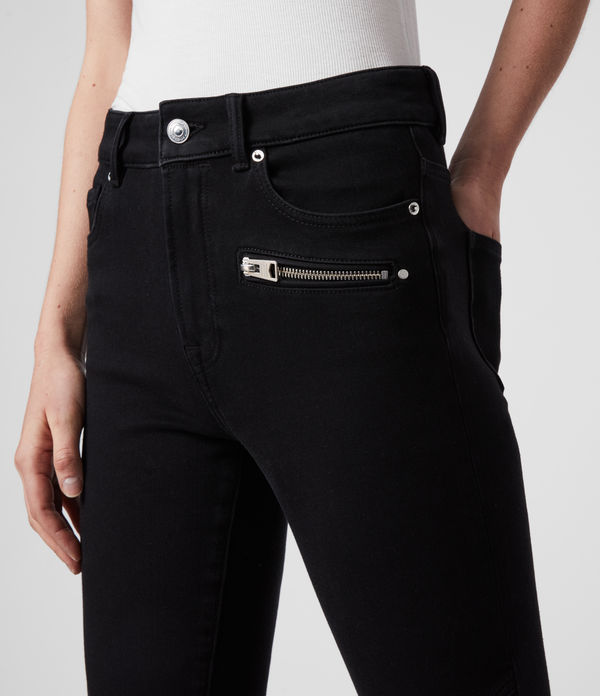 Biker Cropped Mid-Rise Bi-Stretch Skinny Jeans, Black