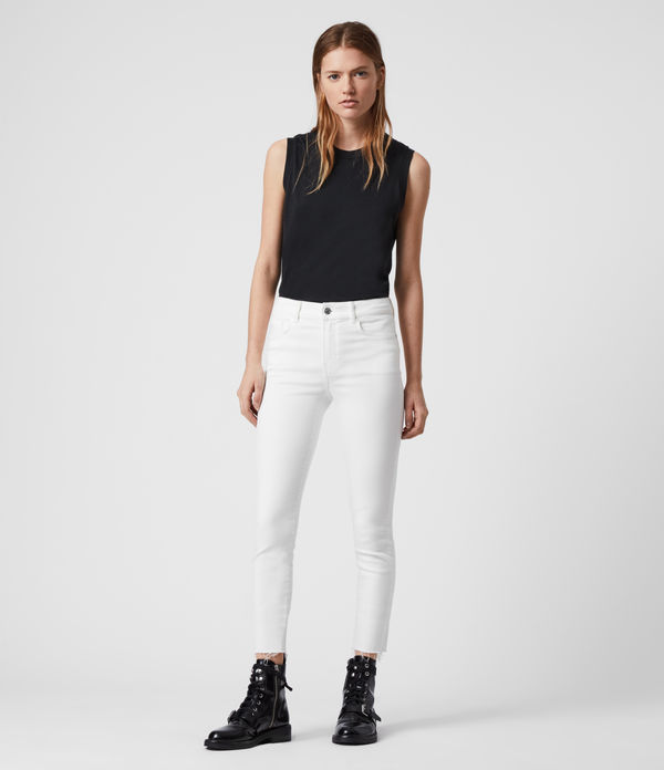 miller ankle mid-rise superstretch skinny jeans, white