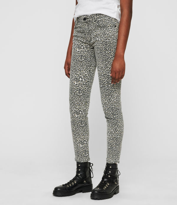 Grace Ankle Skinny Mid-Rise Jeans, Leopard Print