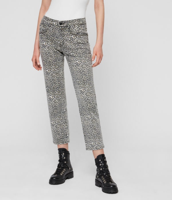Ava Straight High-Rise Jeans, Leopard Print