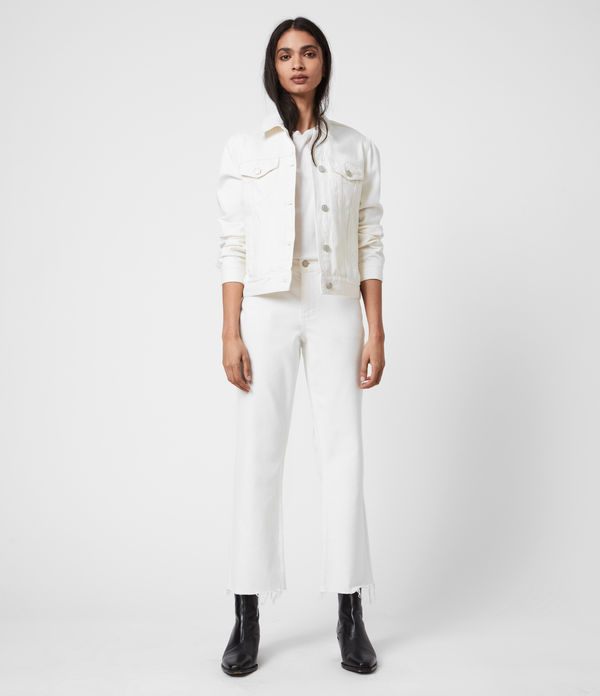barely cropped high-rise bootcut jeans, natural white