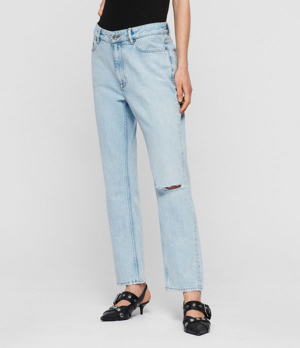 Marley Boyfriend High-Rise Ripped Jeans, Sky Blue