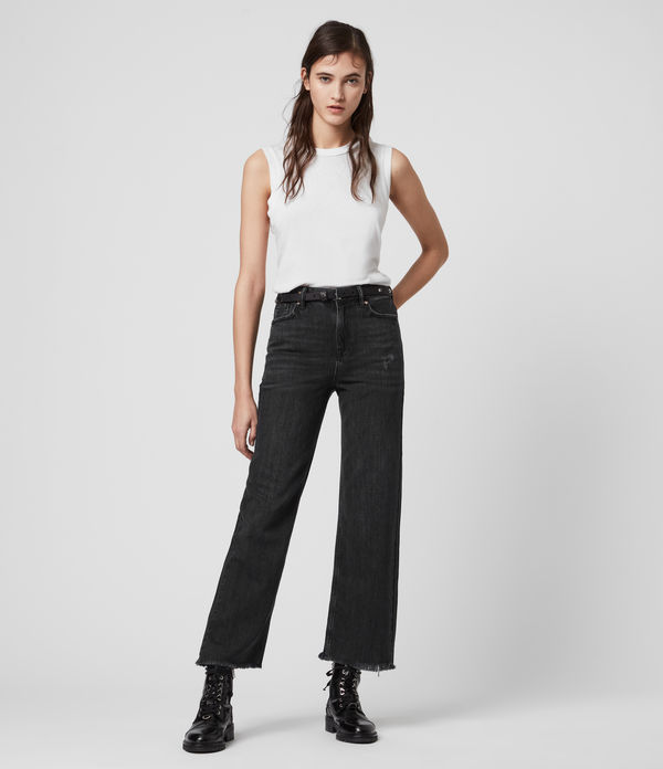 ash cropped high-rise boyfriend jeans, washed black