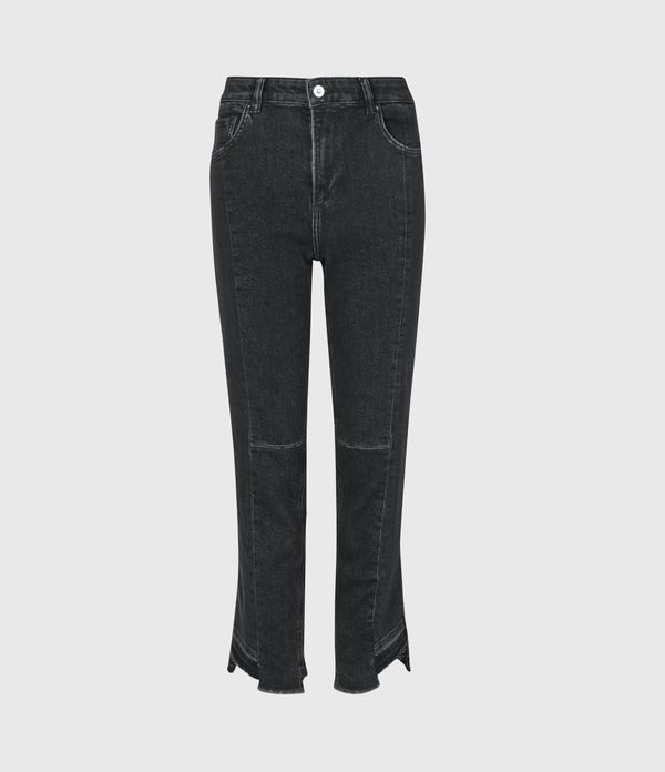Kim Two-Tone High-Rise Slim Jeans, Black