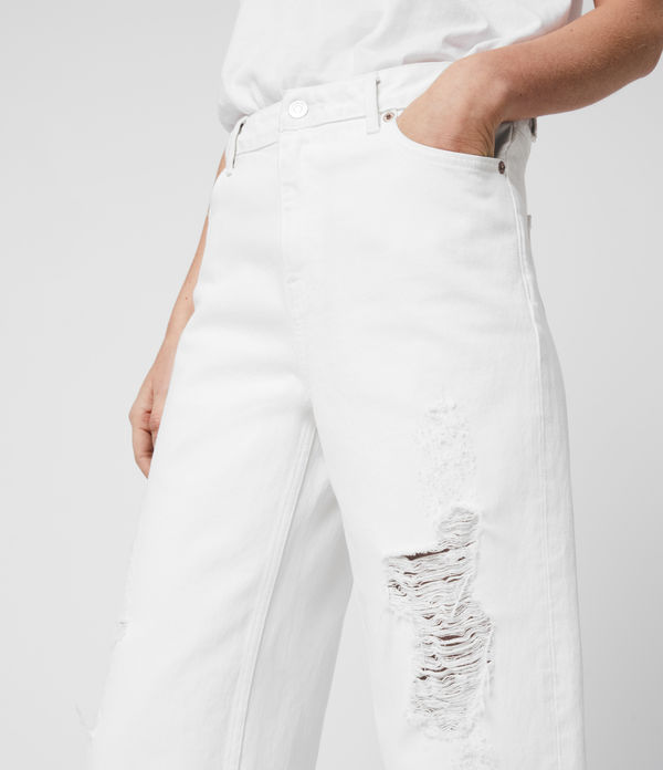 Ash Cropped High-Rise Distressed Boyfriend Jeans, White