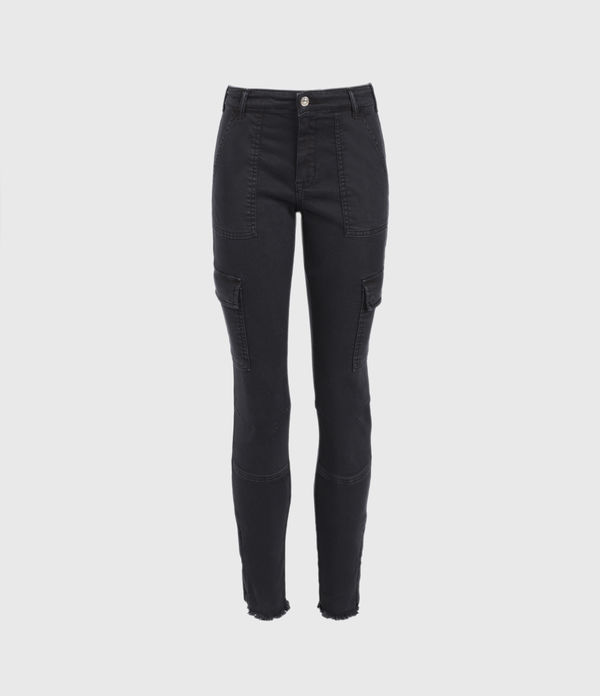 Duran Mid-Rise Superstretch Skinny Cargo Jeans, Black