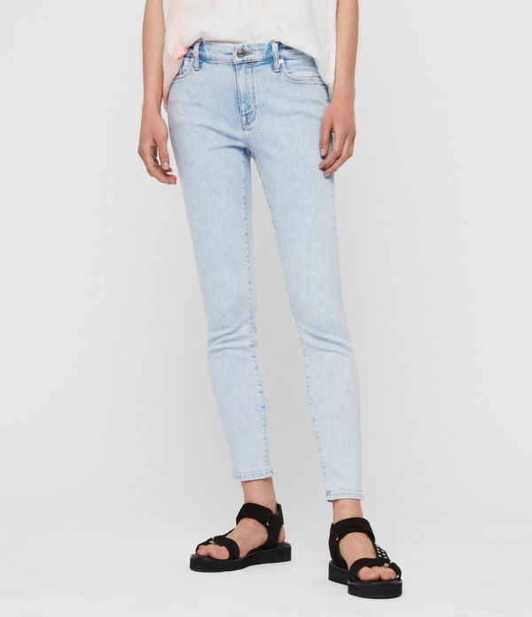 Grace Cropped Skinny Mid-Rise Jeans, Snow Blue