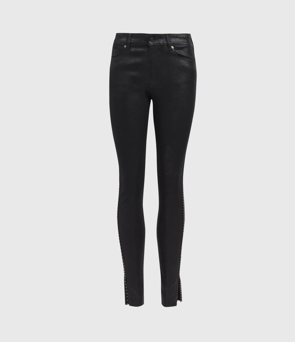 Miller Mid-Rise Ministud Superstretch Skinny Jeans, Coated Black